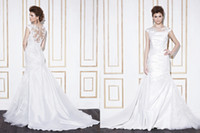 Wholesale Elegant Mermaid Wedding Dresses With Applique Pleated And Sheer Crew Neckline Cap Sleeve Sweep Train Covered Button Bridal Gowns China