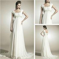 Trumpet/Mermaid Reference Images Chiffon WD7107 Grecian Style Cap Sleeve Chiffon Wedding Dress
