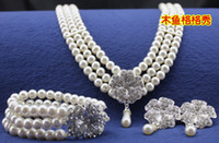 Wholesale 2014 Hot Bridal Jewelry Shiny White Pearls Crystal Alloy Set included Neckline Bracelet Earring in Stock Fast Shipping