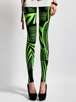 Wholesale Stylish Green Leaf Pattern Lycra Spandex Women s Leggings women winter r22 u6 Qk