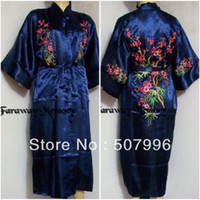 Wholesale Navyblue Silk satin Men and Women Embroidery Robe Gown Kimono Bathrobe Sleepwear Size M L XL XXL D