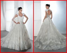 Wholesale Backless Ball Gown Wedding Dresses with Cap Sleeves Demetrios Collection V Neck Tulle Lace Wedding Gowns with Chapel Train Custom