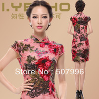 Wholesale Spring Summer Women Vintage Cheongsam Silk Chinese Dress China styled Lady Brand Dress Qipao D