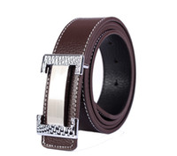 1PCS Fashion Silver Carved H- Buckle Coffee Genuine Leather B...