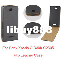 For Sony Ericsson TPU Black DHL Free Shipping PU Leather Down Flip Cover Case For Sony Xperia C S39h C2305