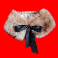 Wholesale Fashion Latest Fur Collar Women s Neck Warmers Fur Scarf Shawl Soft For Coat Bow Silk Ribbon Brown and White Color VA