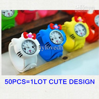 Wholesale Children Analog Wrist Watch - 50pcs PAPA Animal Slap Snap On Silicone Wrist Watch Boys Girls Children Kids Fashion Kids Watch KT Cat Watch BY DHL Free Shipping