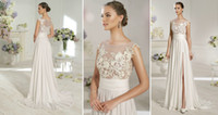 A-Line Reference Images Jewel Sleeveless Boat Neckline Appliques Lace Chiffon Satin A-Line Madonna D24 Novia D'Art Bridal Dresses Wedding Gowns