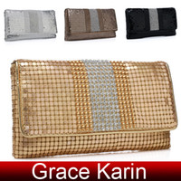 Wholesale Good Price GK Women s Aluminum Pieces amp Rhinestone Clutch Evening Bag Shoulder Bag GZ643