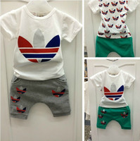 Boy Summer Short 2014 AD clothes baby boys girls clothes sets Children's clothes suits (t shirt+pants)2pcs kid's casual sport suits 3sets lot