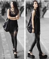 Leggings Skinny,Slim Capris Hottest Leather Lace Leggings Black Printing Lace Fashion Skinny Pants LXR8-22