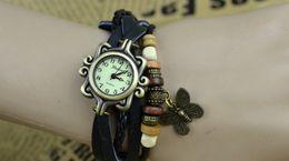 Wholesale Weave Bracelet Women Fashion Leather Quartz Wrist Watch Lady Roman Butterfly Round Dial Charming Without Logo DHL