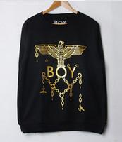 Pullover bape chain - BOY LONDON printing camellia Gold chain Long sleeve leisure Pullover Hoodies Sweatshirts