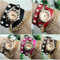 Wholesale 2014 new arrival Sparkling Rhinestone Synthetic Leather Sling Chain Quartz Watches Women Wrist Watch colors