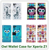 beauty owl - Hot Owl Beauty Leather Wallet Back Cover Case for Sony Xperia Z1 L39h Honami C6906 C6943 with Slot Stand