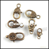 Clasps & Hooks Jewelry Findings Zhejiang, China (Mainland) 54pcs lot Wholesale Mixed Vintage Bronze Alloy Metal Lobster Clasp Jewelry Finding 160669