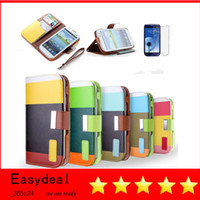 Wholesale MULTI COLOUR Strip Wallet Card Holder Flip Stand Leather Case Cover for iPhone S C S Samsung S3 i9300 S4 i9500 mini S5 Note