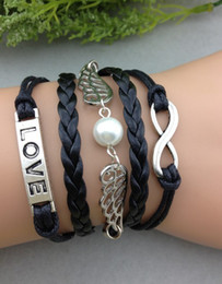 Wings Handmade infinity bracelets karma bracelets,one direction bracelets,braid leather bracelets Jewelry with wax cord hy1068