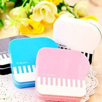 Wholesale Creative Piano shape daily CONTACT LENS STORAGE BOX Contact lenses boxes Hot popular charm funny piano style contact lens boxes
