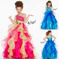 Model Pictures Girl Beads 2014 Colorful Little Girl Dresses One Shoulder Crystal Beaded And Sequined Ball Gown Floor-Length Organza Pageant Dress