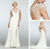 Trumpet/Mermaid Reference Images Chiffon WD13084 New Long Grecian Style V-neek bead Cap sleeve Wedding Dress in 2014 spring style