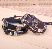Wholesale Kpop Christian Cross Leather Bracelets Adjustable Braided Leather Bracelet Black Brown LB043