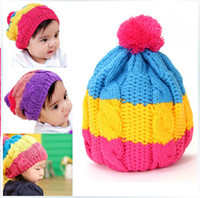 Winter baby beanie - Rainbow wool Knitted Baby Winter Cap Beanie Hat Baby Toddler Knitted Children Hats Boy Girl Cap