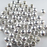 Wholesale Min order mix Silver Plated round ball metal spacer beads mm