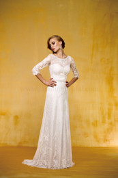 Wholesale 2014 New Luxury Elegant Column Jewel Half Sleeve Backless Sheer Lace Beaded Crystal Garden Court Train wedding dresses weddiong gowns