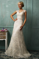A-Line Reference Images V-Neck Top Quality 2014 Lace Applique A-Line Amelia Sposa Wedding Gowns V-Neck Short Sleeve Sheer Covered Button Attractive Church Bridal Dresses