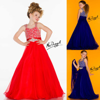 Model Pictures Girl Beads 2014 Colorful Crystal Beaded Flower Girl Dress A-Line Floor-Length Chiffon Pageant Dresses