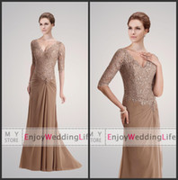 sexy mother - 2013 Sexy V Neck Brown Chiffon Ruffles Long Sleeves Mother Of The Bride Dresses With Lace Beaded Top
