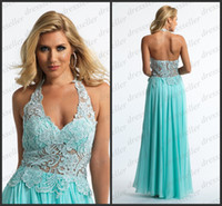 Reference Images Halter Chiffon 2014 Modest Popular Halter A-line Long Ruffle Aqua Chiffon Lace Overlay Bodice Beaded Party Prom Dresses