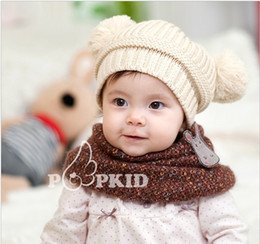 Wholesale Fashion Baby Winter Warm Beanie Hat Baby Toddler Knitted Double Ball Knitted Cap Children Hats Children Crochet Mouse Cap