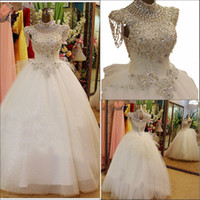 Wholesale 2015 New Luxury Wedding Dresses With High Neck Swarovski Crystals Beading Ball Gown Bow Floor Length Tulle Hot Customed Bling Bridal Gowns