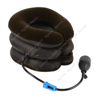 hand-pumping Brown PVC and flannelette 2014 New Arrival !!! Brown Three Layers Neck Traction Massager Collar Relief Cervical Traction Device 18417