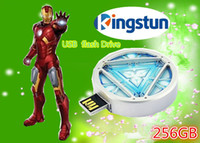 Wholesale Flawless Avengers Iron Man LED Energy reactor Flash GB USB Flash drive Memory Drive Stick Pen usb disk info think