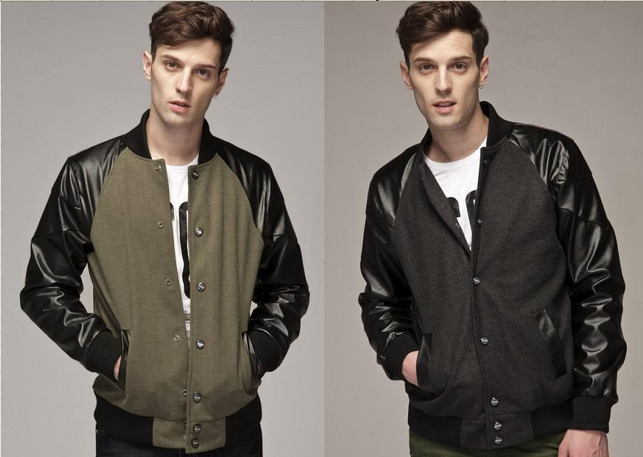 Wholesale Men Woolen Cloth Jackets Men'S Stitching Coats Standing ...