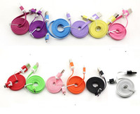 Wholesale New Arrival Colorful Noodle Flat Data Sync USB Charging Cable for iphone s G S C Samsung S3 S4 HTC one Blackberry Cell phone