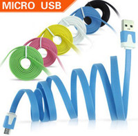 Wholesale Flat Thin Small Noodle Charging Data Sync Cords USB Charger Cable Cord For S S C Samsung Galaxy S3 S4 HTC LG Cell Phone