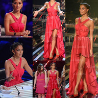 Wholesale Nicole Scherzinger Red Halter Chiffon Hi Lo On The X Factor Celebrity Dresses Red Carpet Prom Gowns BO3713