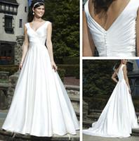 Trumpet/Mermaid Reference Images Chiffon WD132018 V-neek Neckline Pleated Bodice draped Skirt A-line Grecian Wedding Dresses 2014