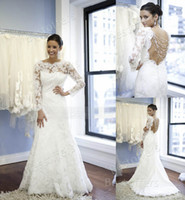 A-Line Reference Images Off-Shoulder Sheer lace long sleeves wedding dresses with crystals on the backless naked back A line white bridal gown Full length skirt