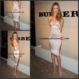 Wholesale Rosie Huntington Whiteley Short Nude Sheath Satin Cocktail Celebrity Dress Body Launch cheryl cole evening Gowns Prom Dress