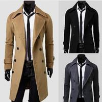 Wholesale Autumn and winter Men s Long Dust Coat Luxury Coats Brief Wind Coat Men Trench Coats Woolen Overcoat Warm Surcoat Wool greatcoat