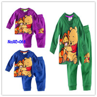 Wholesale Children Winnie Pooh Batman Spider Man Long sleeve Sleepwear Baby Cotton Pajamas Set multi Colors