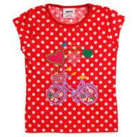 Wholesale K2512 Nova kids wear new summer m y children girls rainbow bike embroidery sequin cotton short sleeve polka dots T shirts