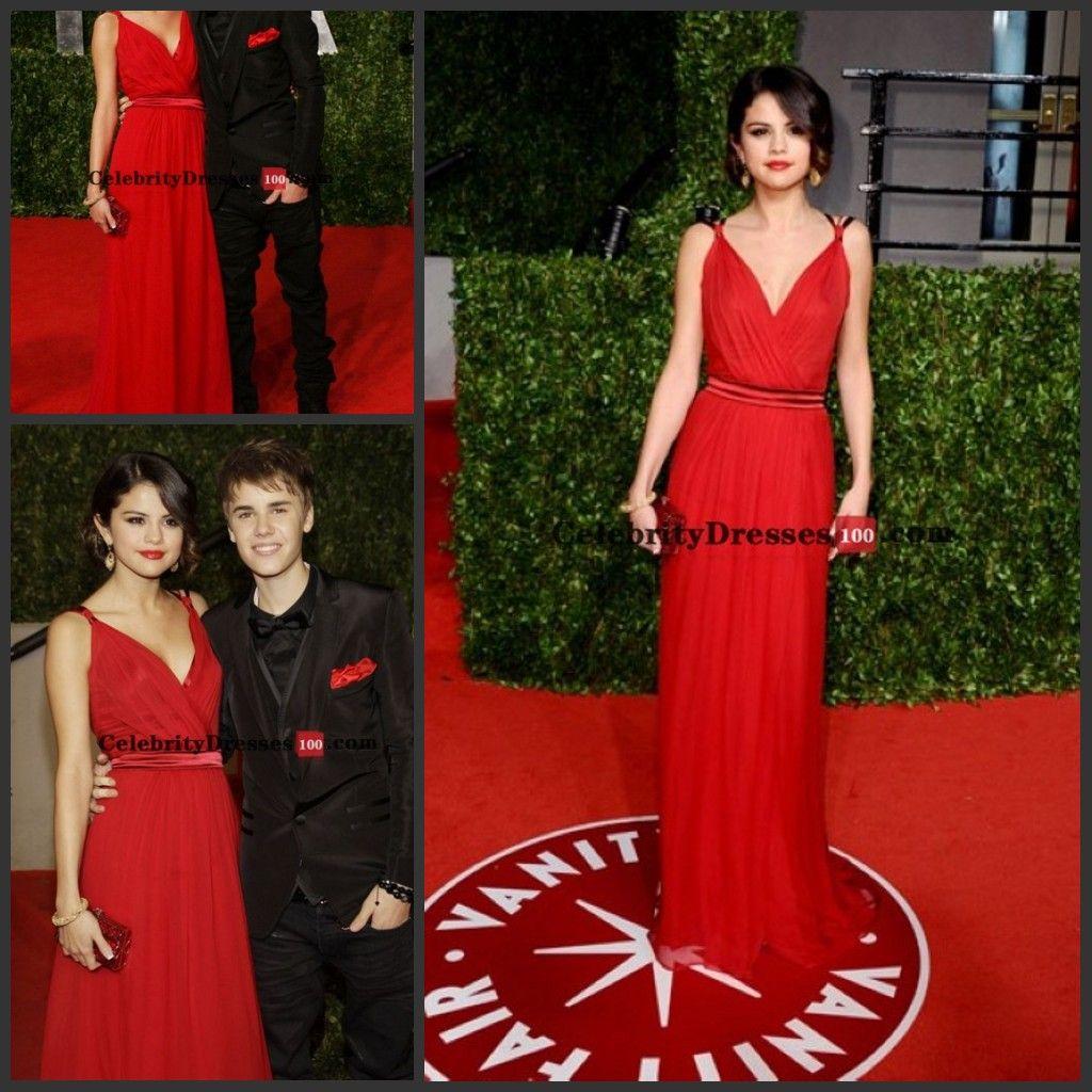 Justin Bieber And Selena Gomez Red Dress Replica For Sale Vanity ...