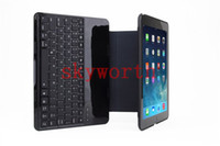 Wholesale Metal Aluminum Alloy Wireless Bluetooth Keyboard Leather Case Cover for ipad air Stand
