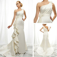 Trumpet/Mermaid Reference Images Chiffon WD5731 2012 Sweetheart Long Train One Shoulder Grecian Wedding Dresses